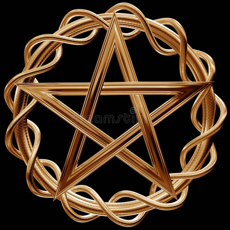 Gouden pentagram stock illustratie