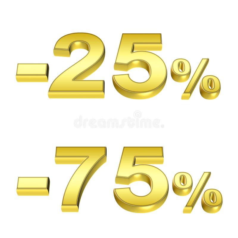 Gouden percenten vector illustratie