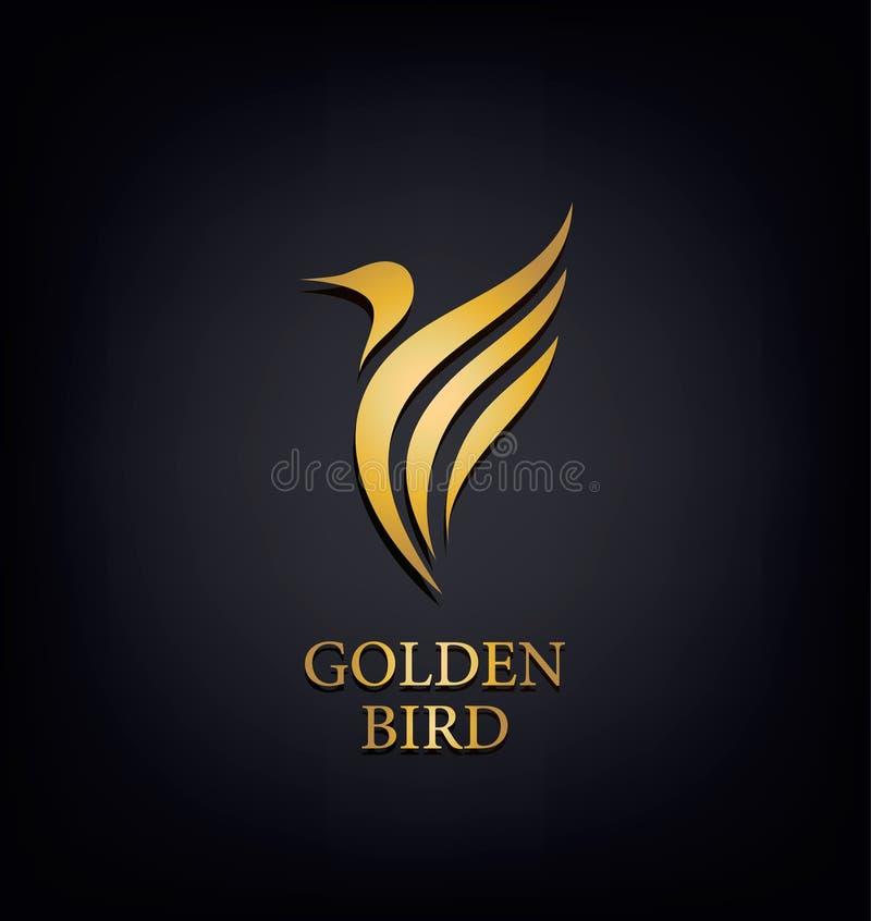 Gouden Phoenix, vogelmerk, dierlijk embleem, luxeidentiteit voor hotelmanier en sportenconcept royalty-vrije illustratie
