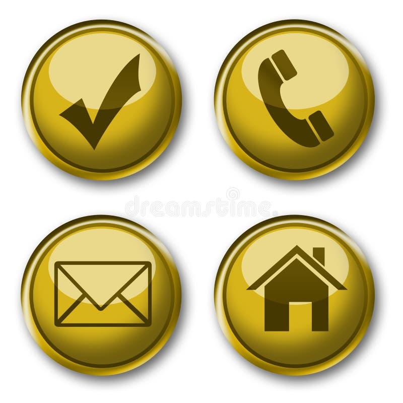 Gouden pictogrammeninzameling vector illustratie