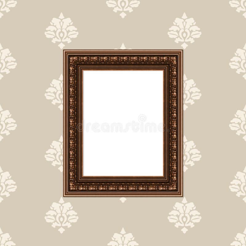Gouden pictureframe op muur stock afbeelding