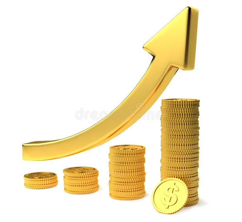 Gouden pijl omhoog en staafdiagramdiagram van gouden dollarmuntstukken die op wit achtergrond 3d teruggevend Financieel succescon royalty-vrije illustratie