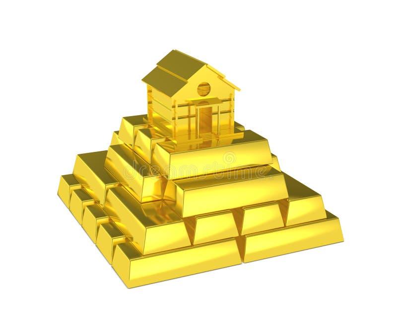 Gouden piramide met huis bij de bovenkant royalty-vrije illustratie