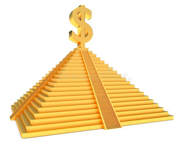 Gouden piramidedollar vector illustratie