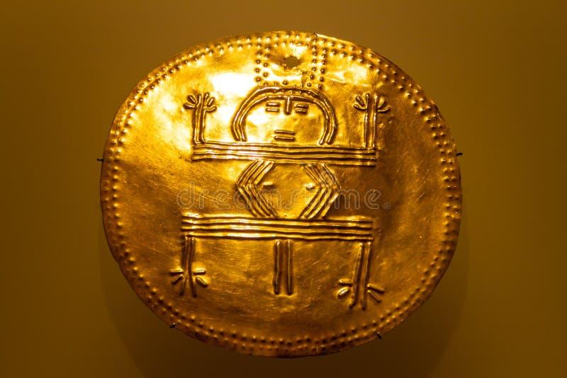 Gouden plaat in het Museum van Goud stock afbeelding