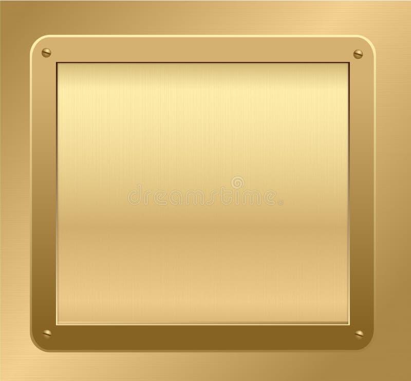 Gouden plaque op een geweven achtergrond. royalty-vrije illustratie
