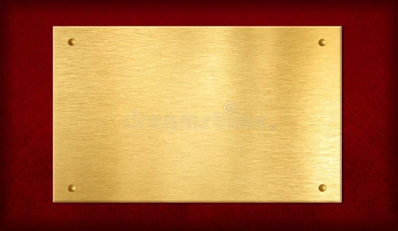 Gouden plaque op rode achtergrond stock afbeelding