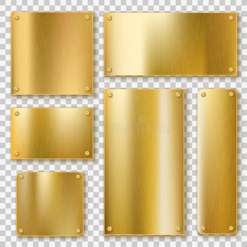 Gouden platen Gouden metaal gele plaat, glanzende bronsbanner Opgepoetst geweven leeg etiket met realistische schroeven stock illustratie