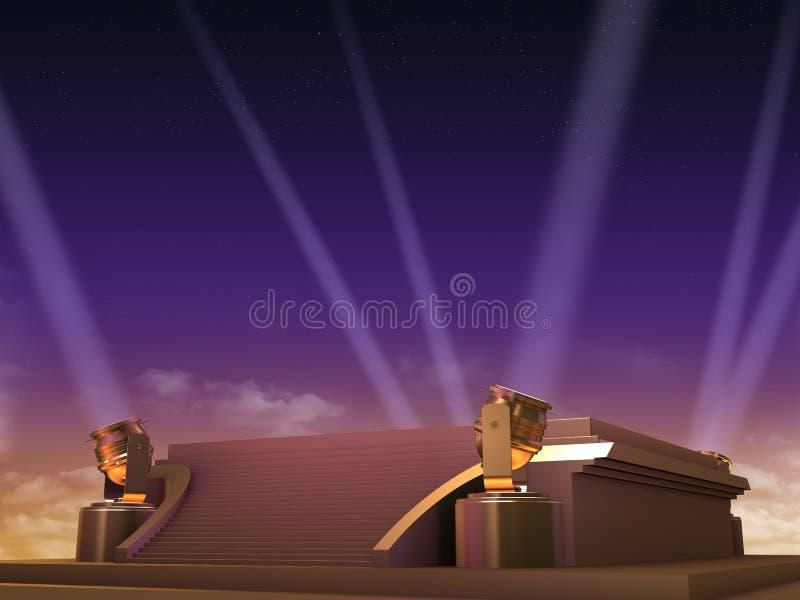 Gouden platform - filmstijl vector illustratie