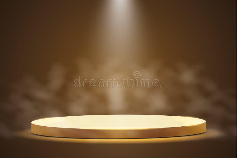 Gouden podium met een schijnwerper op een donkere achtergrond, met mist, de eerste plaats, de bekendheid en de populariteit Vecto royalty-vrije illustratie