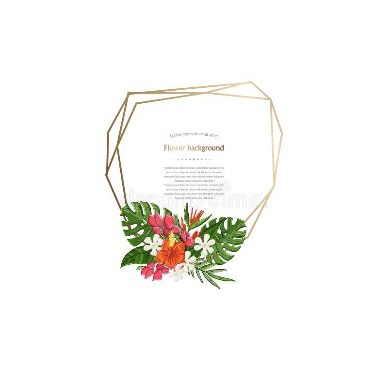 Gouden poligonalkader met tropische bloemen, geïsoleerde bladeren royalty-vrije illustratie