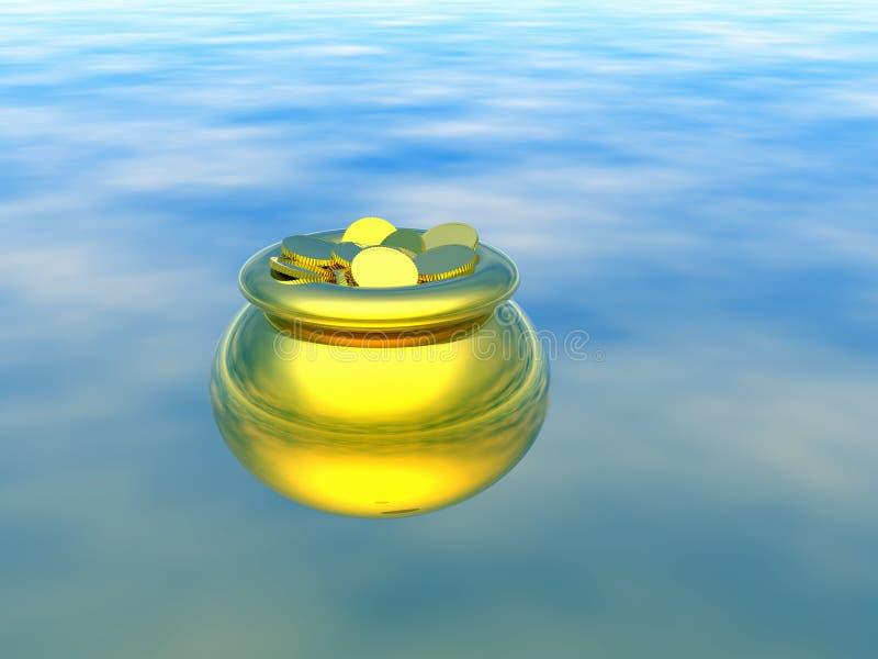 Gouden pot met goud. 3D royalty-vrije stock afbeelding