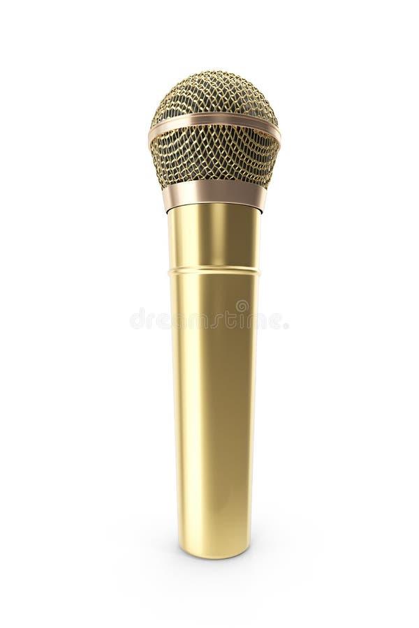 Gouden, prestigieuze draadloze microfoon die op witte achtergrond wordt geïsoleerd het 3d teruggeven vector illustratie