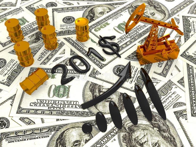 Gouden Pumpjack en Gemorste Olie op het Geld 3d geef terug stock afbeeldingen
