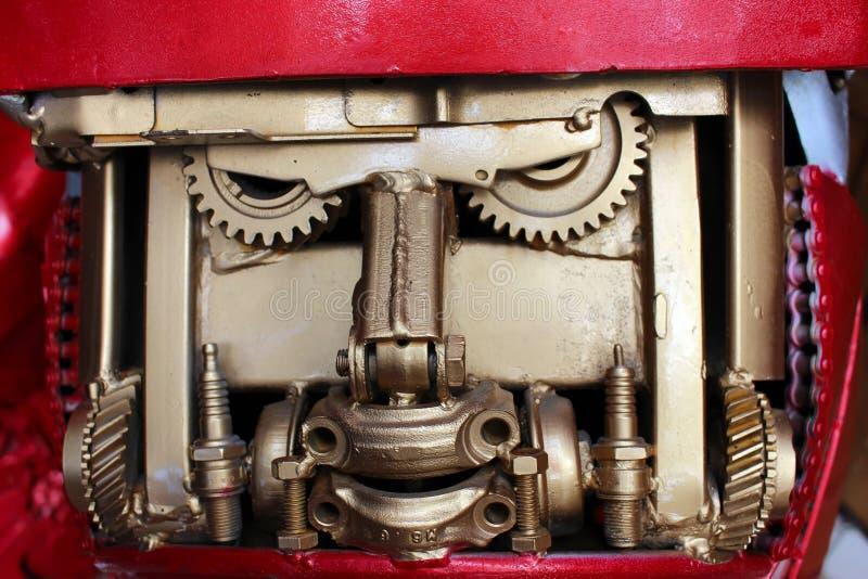 Gouden radertjes en metaal industriële componenten stock foto's