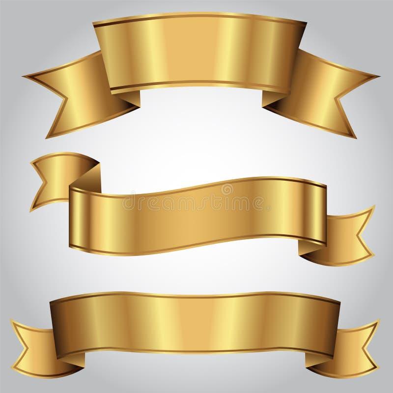 Gouden realistische geplaatste luxelinten stock illustratie