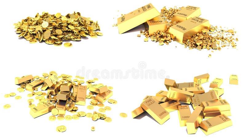 Gouden reeks Gouden Bars, Muntstukken en Gouden die Stukken op wit worden geïsoleerd stock illustratie