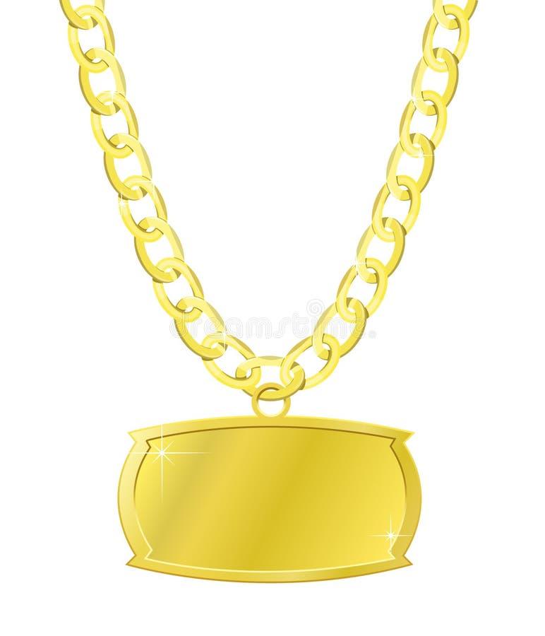 Gouden reeks van ketting en plaque stock illustratie