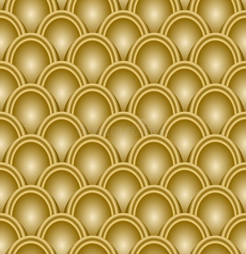 Gouden in reliëf gemaakt schaalpatroon, naadloze luxeachtergrond, op-kunst met 3d illusie royalty-vrije illustratie