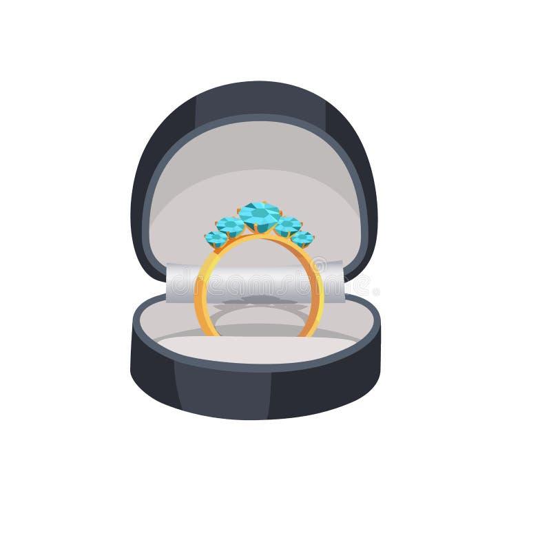 Gouden Ring met Blauwe Diamanten in Doosillustratie royalty-vrije illustratie