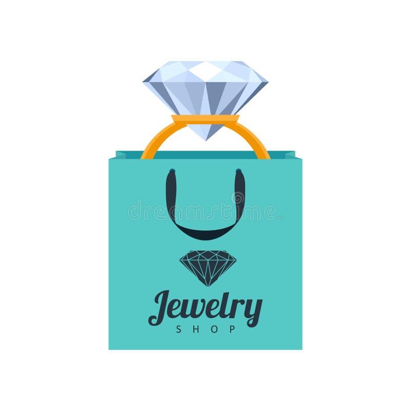 Gouden ring met diamant in de illustratie van de giftzak royalty-vrije illustratie