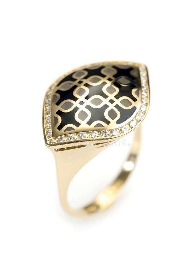 Gouden ring met email royalty-vrije stock foto's