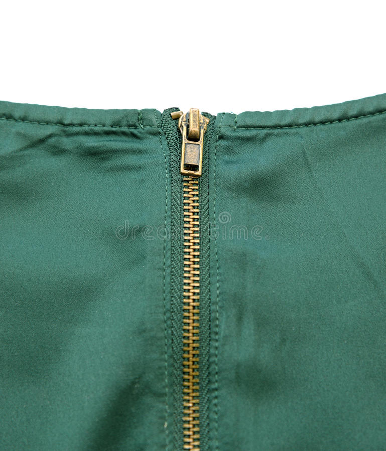 Gouden Ritssluiting op Groene Zijdedoek stock afbeeldingen