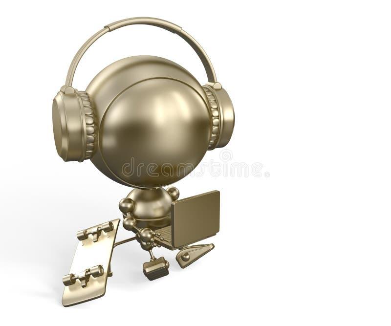 Gouden robotstuk speelgoed met notitieboekje & hoofdtelefoons stock illustratie