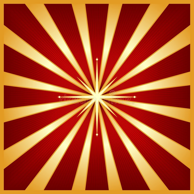 Gouden rode starburst met centrumster royalty-vrije illustratie