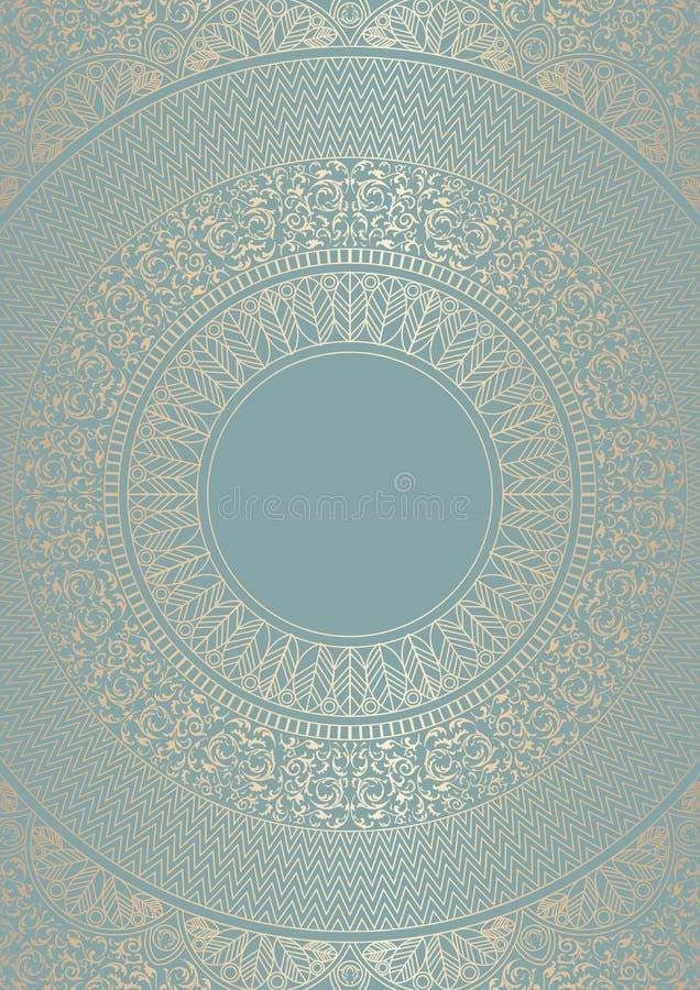 Gouden rond bloemenpatroon op groenachtig blauwe kleur Het uitstekende malplaatje van het dekkingsontwerp De vectorachtergrond va royalty-vrije illustratie