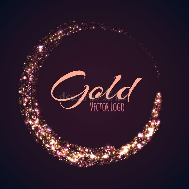 Gouden rond gemaakte banner met gloedeffect op dark stock illustratie