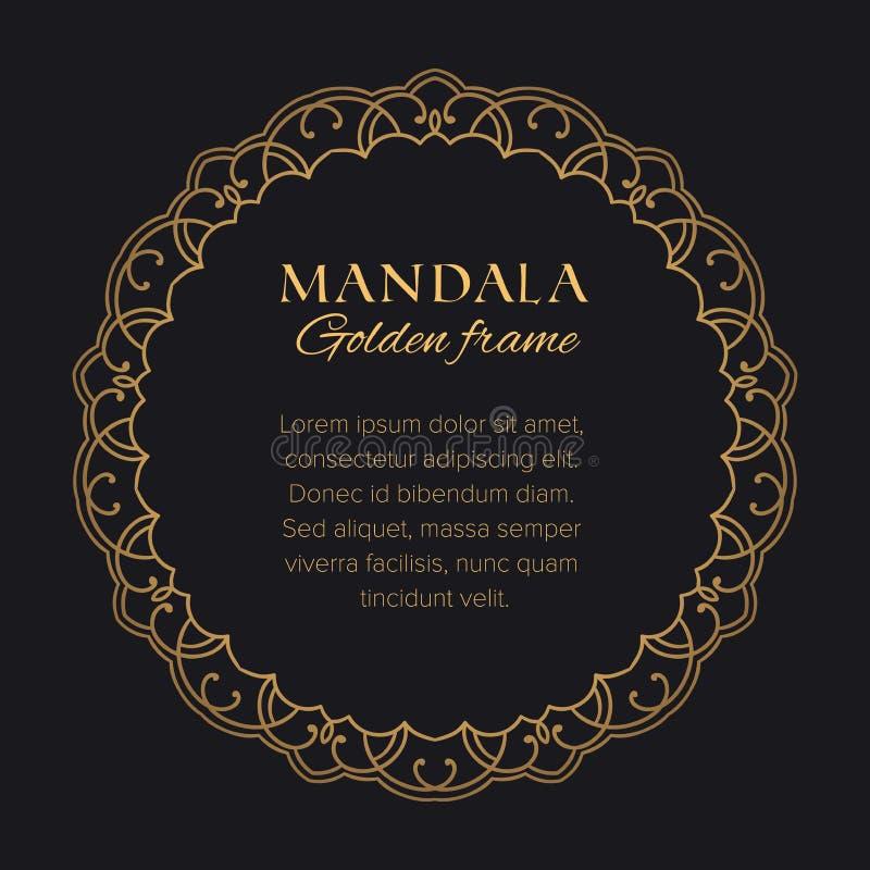 Gouden rond grafisch element op zwarte achtergrond Glanzend malplaatje voor uw tekst stock illustratie