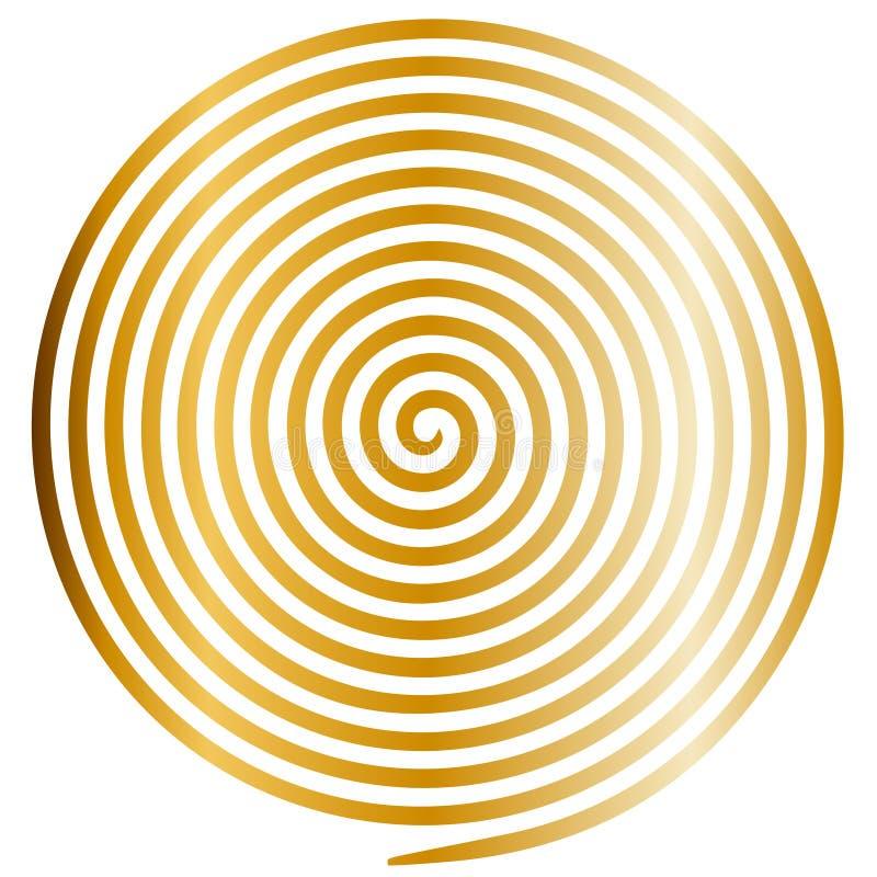 Gouden ronde abstracte draaikolk hypnotic spiraal vector illustratie