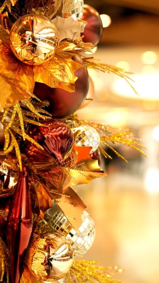 Gouden rood van het Kerstmisornament en bruin royalty-vrije stock fotografie