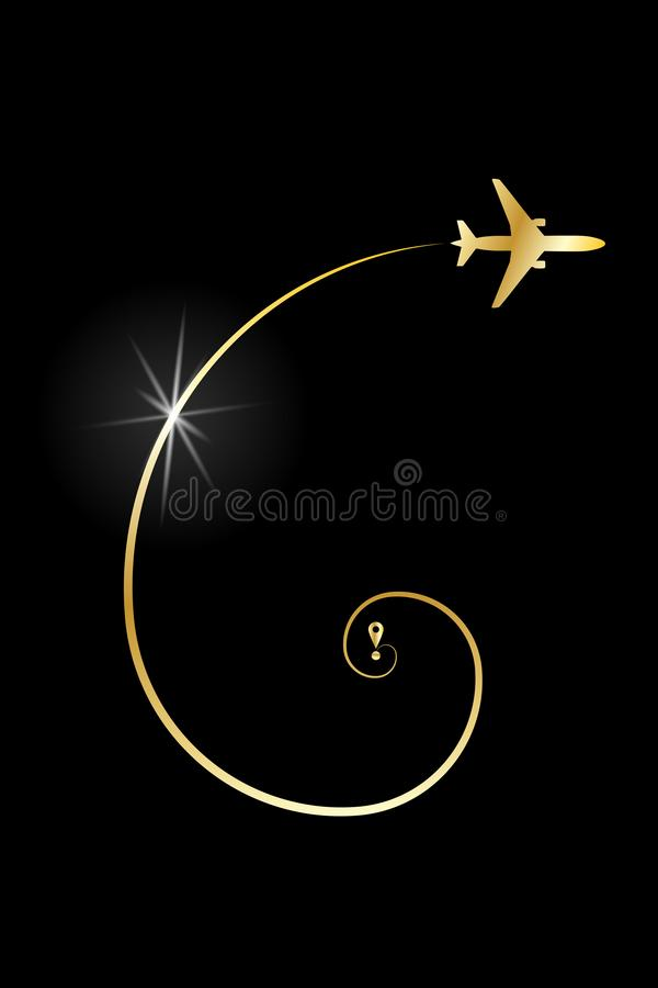 Gouden routevliegtuig stock illustratie