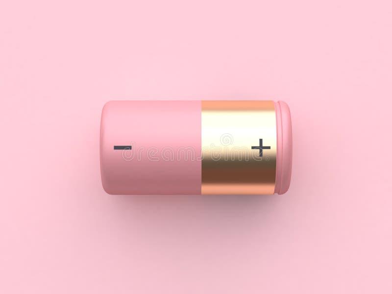 Gouden roze batterij 3d het teruggeven minimaal abstract technologiemateriaal stock illustratie