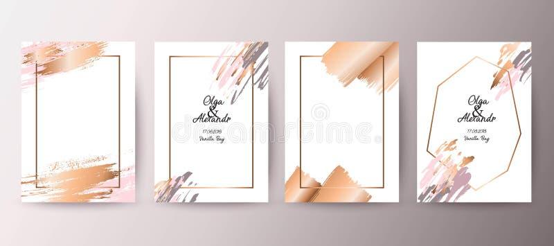 Gouden, roze brochure, vlieger, uitnodiging, kaart royalty-vrije illustratie