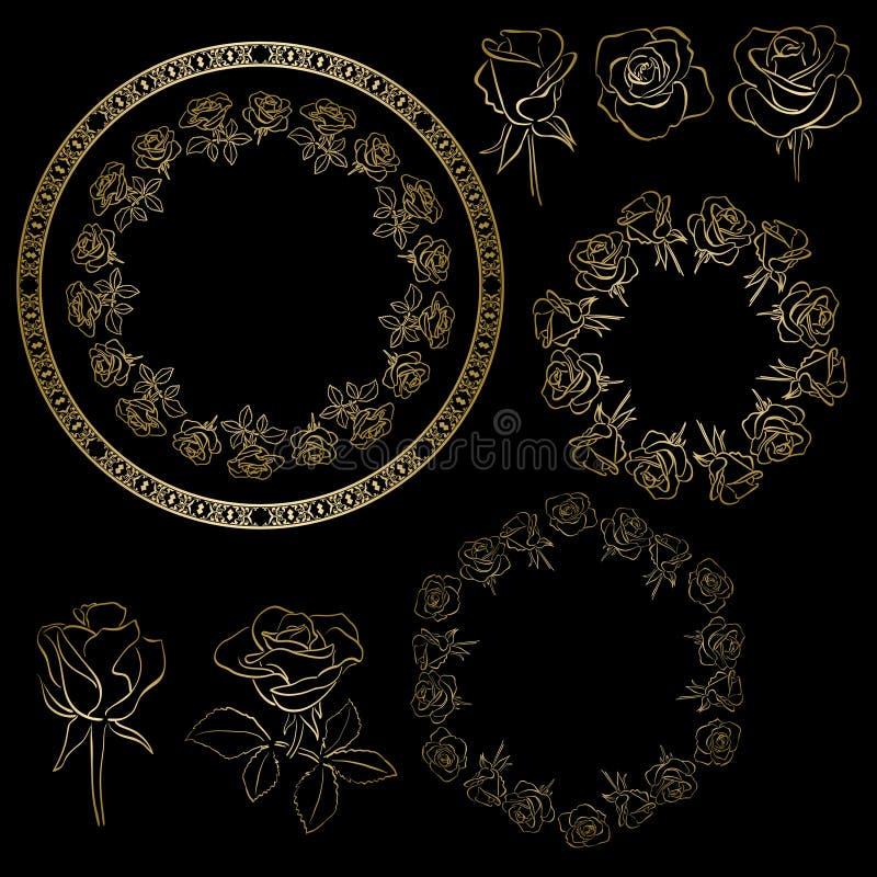 Gouden rozen en kaders van bloemen - bloemenreeks vector illustratie