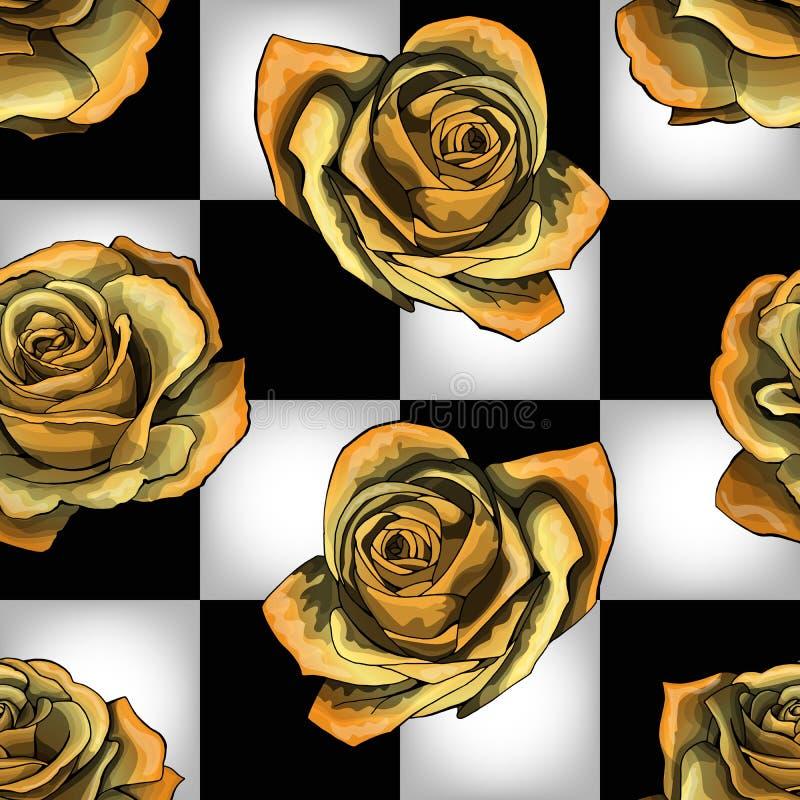 Gouden rozen op schaakbordachtergrond Vector naadloos patroon vector illustratie