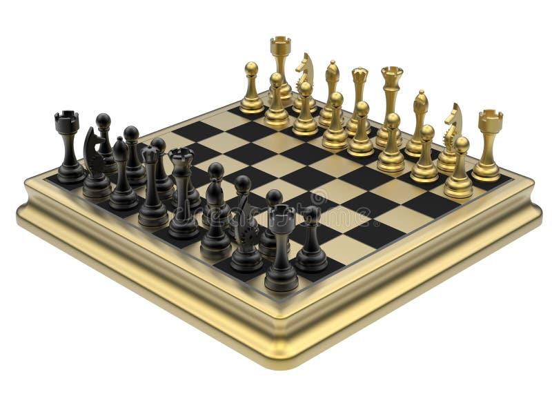 Gouden schaakreeks royalty-vrije illustratie