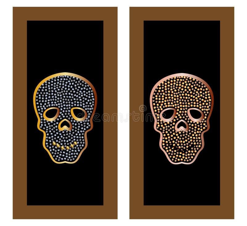 Gouden schedel met juwelen en diamanten als tegenhanger en ornament royalty-vrije illustratie