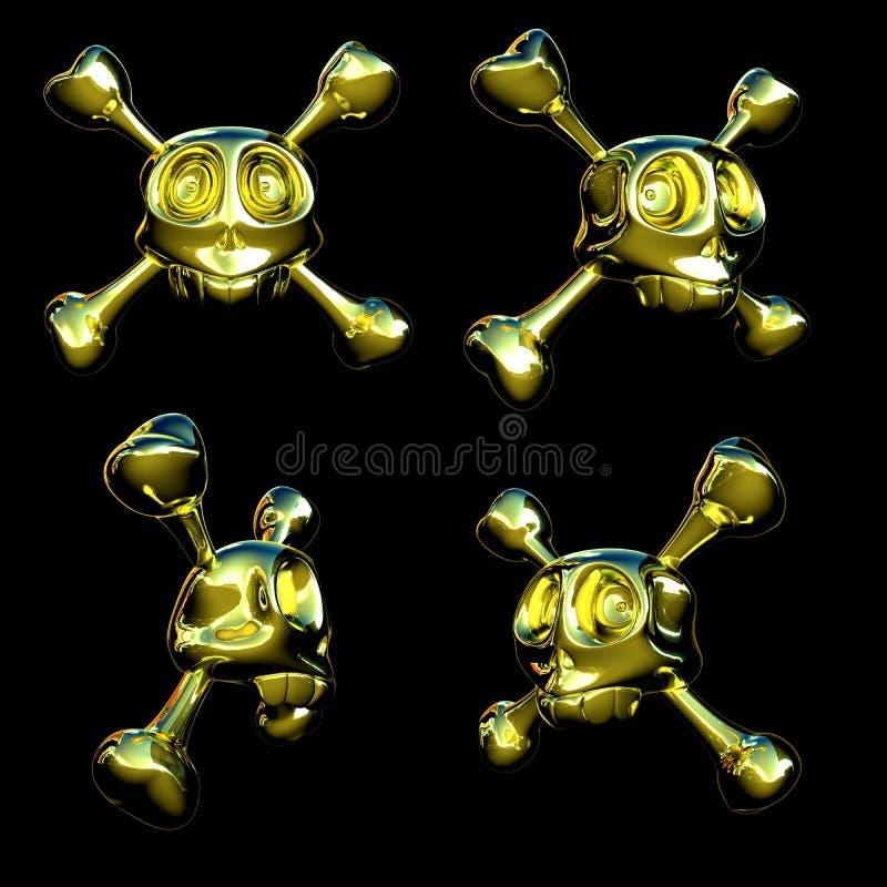Gouden schedels vector illustratie