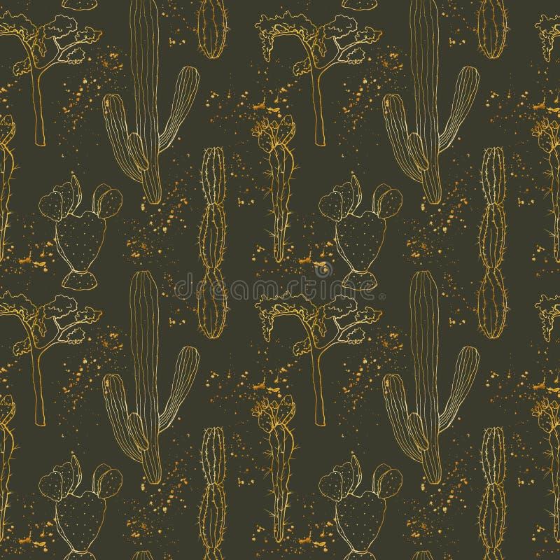Gouden schets naadloos patroon met woestijncactussen De hand schilderde bloemeninzameling: Mexicaanse cactus en boom botanisch stock illustratie