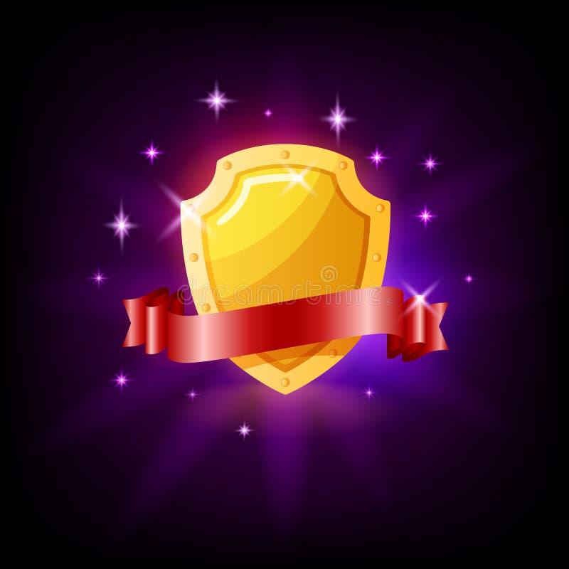 Gouden schild en het rode pictogram van de lintgroef voor online casino of mobiel spel, vectorillustratie met fonkelingen op donk stock illustratie