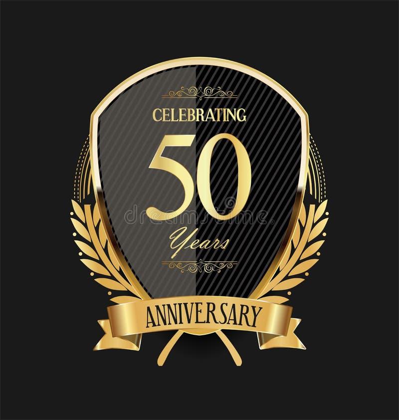 Gouden schild en lauwerkransverjaardag 50 jaar vector illustratie