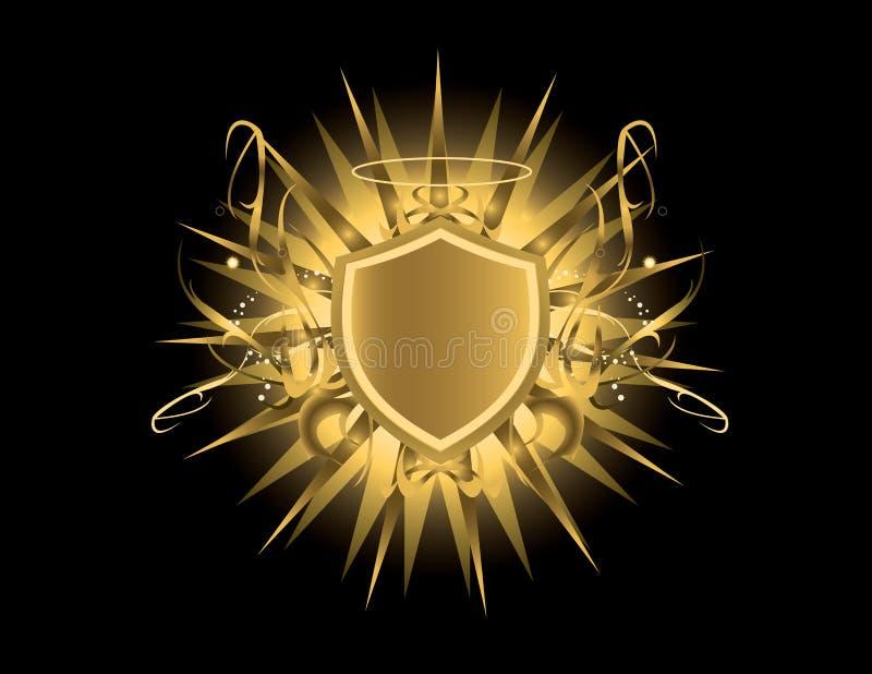 Gouden schild met halo stock illustratie