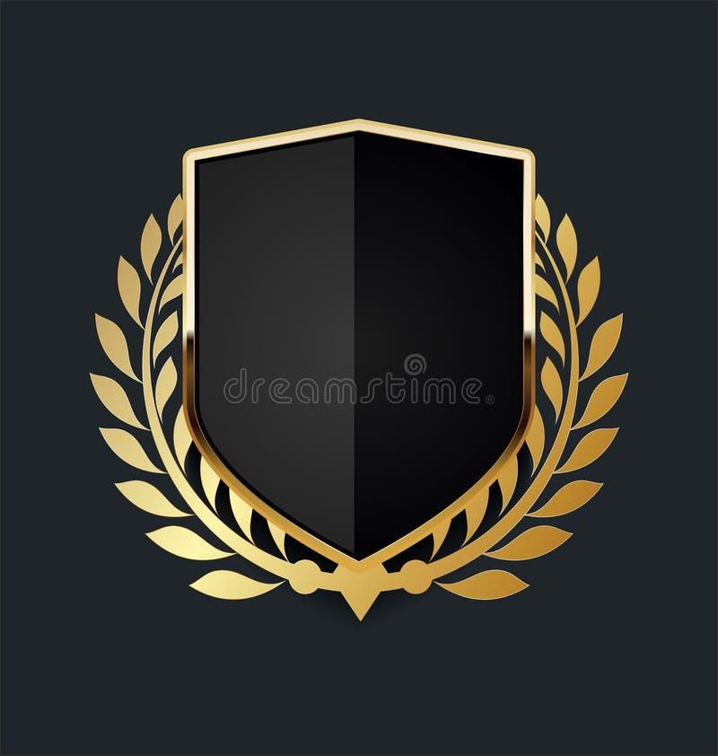 Gouden schild met gouden lauwerkrans vector illustratie
