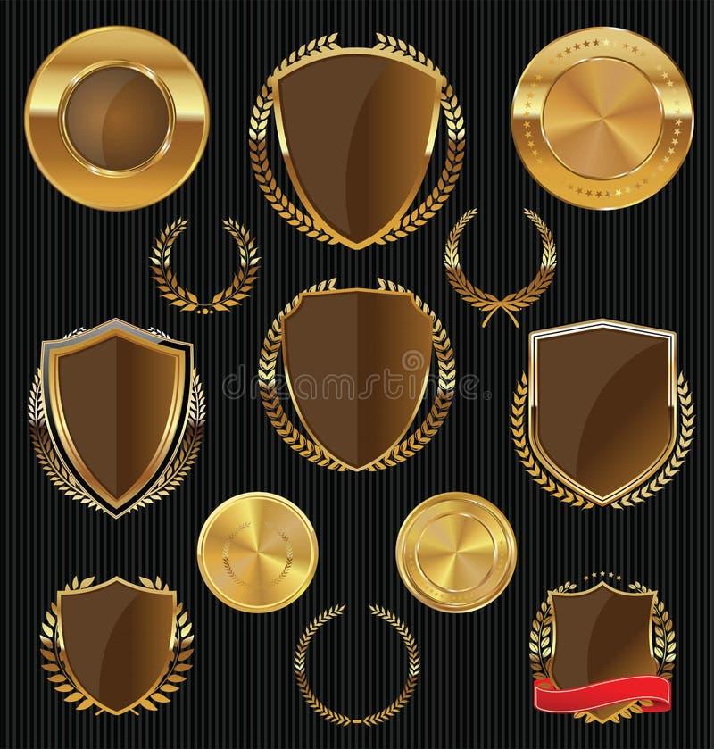 Gouden Schilden, etiketten en laurels, gouden en bruine inzameling stock illustratie