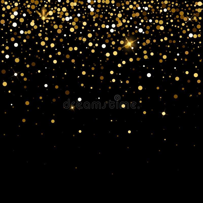 Gouden schitter deeltjeseffect voor luxe die rijke achtergrond begroeten De vectorvonken van het sterstof op transparante achterg stock illustratie
