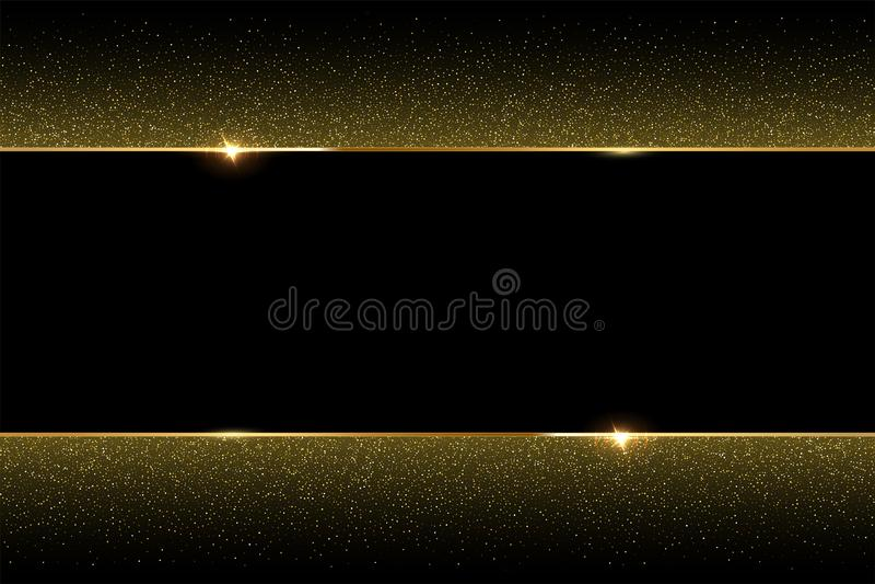 Gouden schitter en glanzend gouden kader op zwarte achtergrond Vector horizontale luxeachtergrond stock illustratie